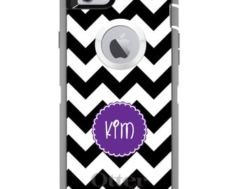 CUSTOM OtterBox Defender Case for Apple iPhone 6 6S 7 8 PLUS X 10 - Personalized Monogram - Black White Chevron Purple Circle