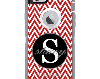 CUSTOM OtterBox Defender Case for Apple iPhone 6 6S 7 8 PLUS X 10 - Personalized Monogram - Red White Chevron Gray