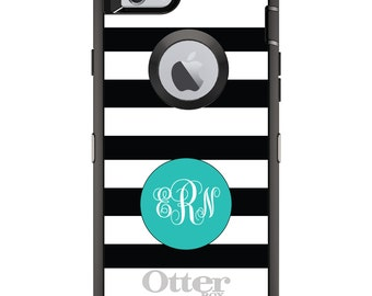 CUSTOM OtterBox Defender Case for Apple iPhone 6 6S 7 8 PLUS X 10 - Personalized Monogram - Black White Teal Circle Monogram