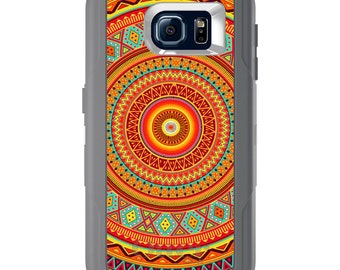 Custom OtterBox Defender for Galaxy S5 S6 S7 S8 S8+ Note 5 8 Any Color / Font - Orange Teal Yellow Tribal Print