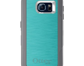 Custom OtterBox Defender for Galaxy S5 S6 S7 S8 S8+ Note 5 8 Any Color / Font - Teal Stainless Steel Print