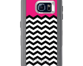 Custom OtterBox Defender for Galaxy S5 S6 S7 S8 S8+ Note 5 8 Any Color / Font - Black White Hot Pink Chevron