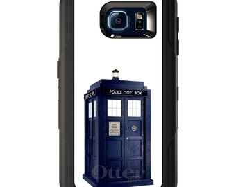 Custom OtterBox Defender for Galaxy S5 S6 S7 S8 S8+ Note 5 8 Any Color / Font - TARDIS Police Call Box