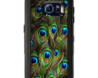 Custom OtterBox Defender for Galaxy S5 S6 S7 S8 S8+ Note 5 8 Any Color / Font - Peacock Feathers