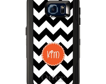 Custom OtterBox Defender for Galaxy S5 S6 S7 S8 S8+ Note 5 8 Any Color / Font - Black White Chevron Orange Circle