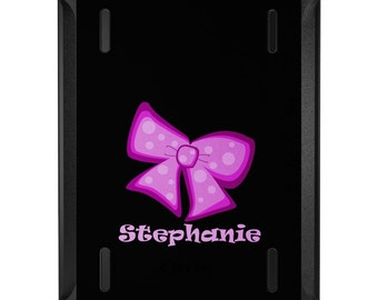 Custom OtterBox Defender for Apple iPad 2 3 4 / Air 1 2 / Mini 1 2 3 4 - CUSTOM Monogram - Pink Black Bow Ribbon Name