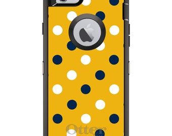Custom OtterBox Defender Case for Apple iPhone 6 6S 7 8 PLUS X 10 - Monogram - Georgia Tech GT Yellow Jackets Colors - Polka Dots