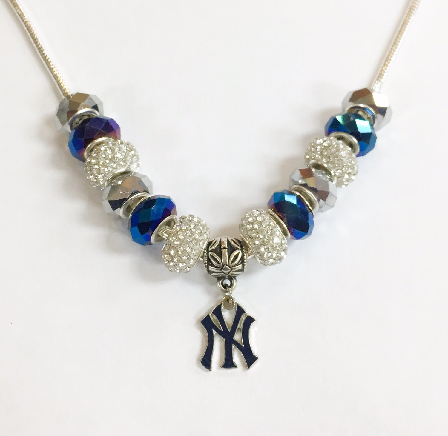 new york yankees baseball necklace by glamjewelryonline on. Black Bedroom Furniture Sets. Home Design Ideas