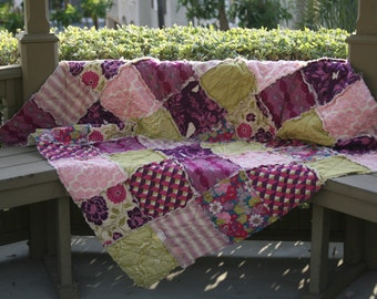 Twin, Full, Queen, King Rag Quilt, Dewberry, Bungalow Collection, You Choose Size, purple, pink and green, ALL NATURAL, handmade bedding,