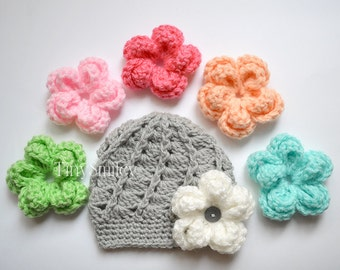 Newborn Girl Hat, Interchangeable Crochet Flower Hat, Gray Baby Girl Hat with 6 Large Flowers, Infant Girl Hats, Cute Baby Hat, Newborn Baby