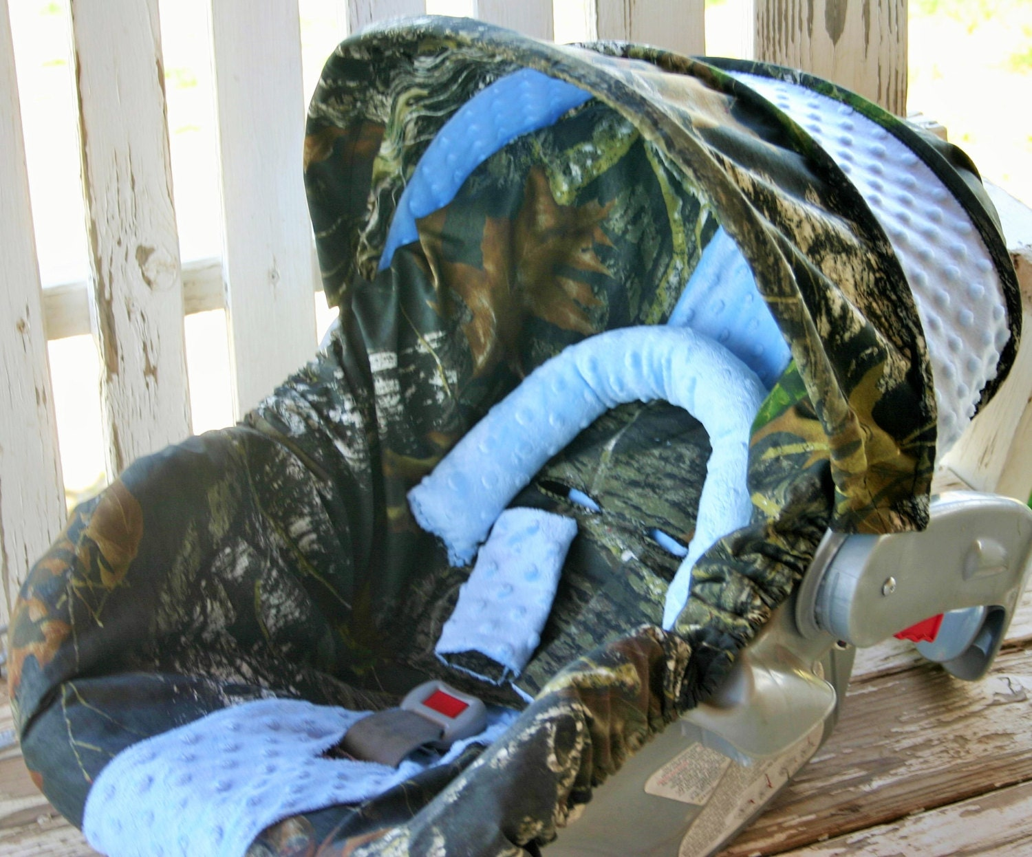 Mossy Oak Camo W Baby Blue Minky Car Seat Cover And Hood