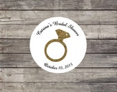 Glitter Diamond Ring Bridal Shower Labels Stickers seals SHIPPED