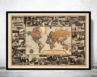 Vintage World Map World War II History 1939