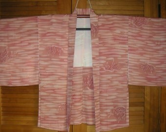 HAORI SILK Vintage Japanese Haori Silk Kimono Jacket,HandDyed Flowers Brushstroke Vintage Silk Haori,Soft Batik-like Pink Silk Kimono Jacket