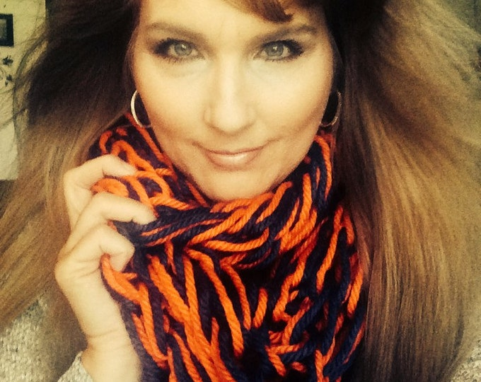 Chunky ORANGE & BLUE Infinity Scarf-Winter Scarves-Fall Wear-Team Colors-Football