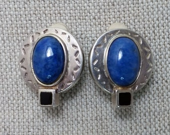 Vintage Silver Clip-On Earrings with Blue Lapis and Black Onyx