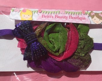 Ready to Ship/Purple/Pink/Green Purple Sequin Bow Flower Headband/Infant/Baby/Girl