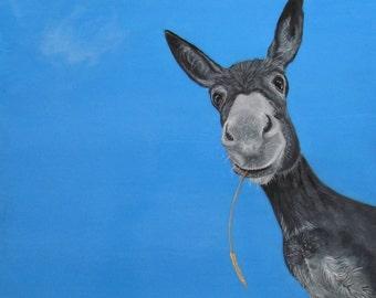 """Donkeys , Donkey painting , Donkey art , Adorable Donkey ,Limited Edition Print of the Magical Donkey """"Dusty"""""""