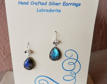 Labradorite Drop 925 Silver Earrings with Greetings Card