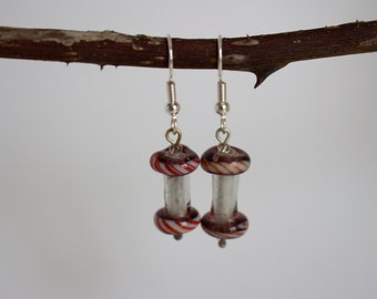 earrings with glass beads (purple/red/white)