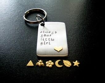 Personalized Keychain for Men- Always Your Little Girl- Stamped Keychain for Guys- Keychain with Heart- Dads Keychain- Unisex Keychain