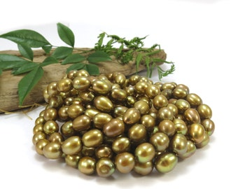 Pearls, Cultured Freshwater Pearls, Golden Olive Green Pearls, 8mm Rice Pearls, 16 inch Strand, Item 394ps