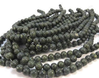 Russian Serpentine Bead Strand, Natural Green 8mm Round Beads, 16 inch Strand, Beading Supplies, Item 621pm