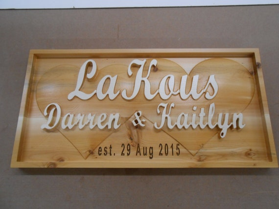 Personalized Custom Carved Wedding / Anniversary Plaque 3D Rustic Wedding Gift Cabin Motorhome Plaque Name Plaque Anniversary Custom Design