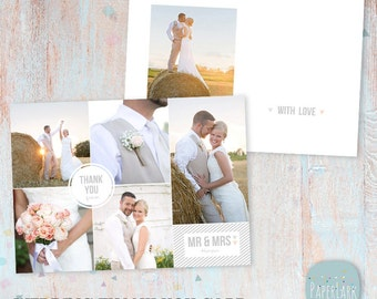 Wedding Thank You Card 5x7 inch - Photoshop template - AW021 - INSTANT DOWNLOAD