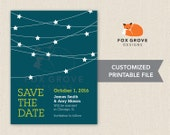 Starry Night wedding save-the-date / Customized printable digital file / Printing services available in U.S.