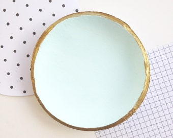Aqua Clay Ring Bowl // gold rim