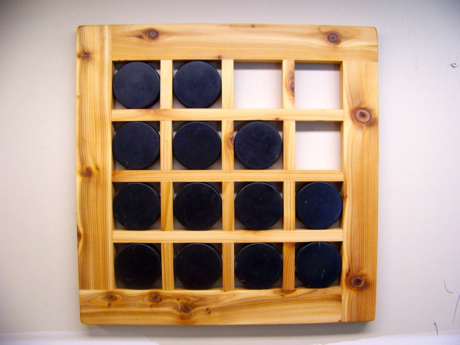 Hand Crafted Hockey Puck Display Case Puck Holder Wall