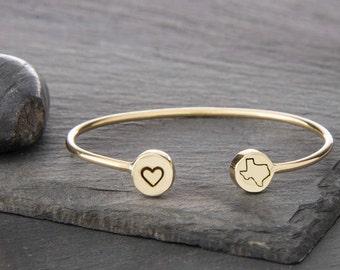 Texas Bracelet, Texas Jewelry, Texas, State of Texas, Texas Bangle, State Jewelry, Texas State Bracelet, Lone Star State, Texas Charm, 249B