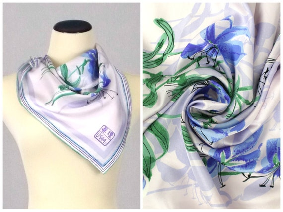 Vera Neumann Silk Scarf - Peoples Republic of China Collectible Scarf Periwinkle Tiger Lilies - Vintage 1974 Silk Vera Scarf