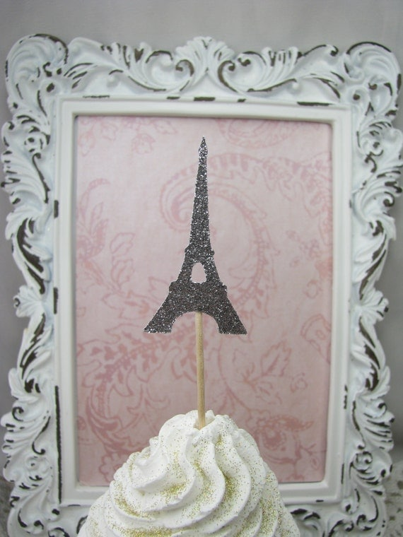 eiffel tower cupcake toppers decorations by goldenneststudio