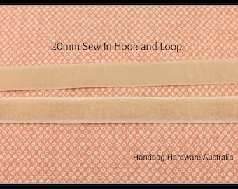 Sew in Velcro _ Hook and Loop tape _ Beige _ 20mm x 1 metre lengths
