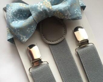 Kids Blue Floral Bowtie/Suspenders set. Bow Tie Set!