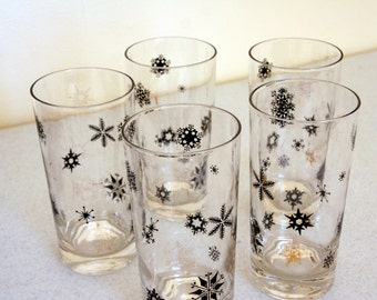Retro snowflake tumblers-mid century drinking glasses- black-gold-federal glass-set of 5