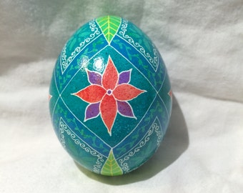 Green and Blue Flower Pysanky egg -- Hand dyed Ukrainian Easter Egg