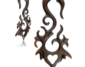 Enchanted - Sono Wood (Brn).Fake Gauges, Handmade, Wood Earrings, Cheaters, Organic, Plugs, Split, Tribal Style