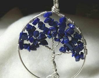 Lapis Lazuli Tree of Life Necklace, Gemstone Tree of Life, Lapis Lazuli Necklace, Blue Necklace, Lapis Lazuli Tree of Life, Gift for Her