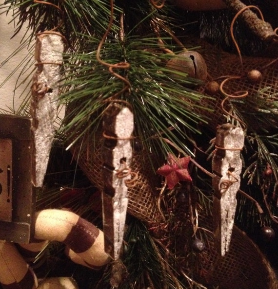 Primitive Christmas Frosted Snow Icicle Snowflake Rusty Wire Wood Clothespin Ornament Handmade Set/3