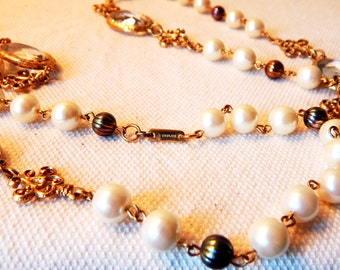 Stunning Signed Dauplaise Pearl and Glass Necklace