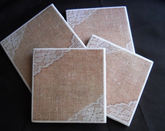 Burlap and Lace ~ Ceramic Tile Coasters ~ Burlap ~ Home Decor ~ Rustic Decor ~ Table Coasters ~ Drink Coasters ~ Country Decor