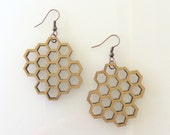 Gold Honeycomb Earrings, Jewelry, Wooden Jewelry, Earrings, Maine Team, Mainemade, gold, women