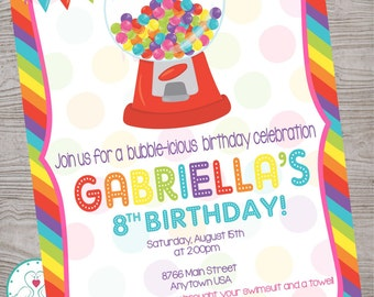 Gumball Rainbow Birthday Party Invitation printable digital file