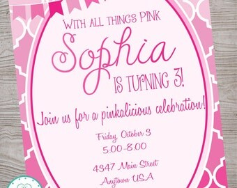 Pink Ombre Birthday Party Invitation printable digital file