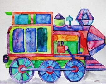 Train watercolor painting, Original watercolor painting, train painting, boy room art, boy baby shower, boy nursery decor