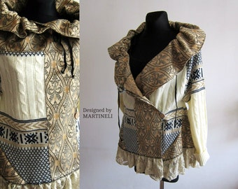 Ivory Beige Extravagant Coat, Tapestry Coat, Uniqued Coat, Recycled Sweaters, Altered Couture, Bohemian Clothing