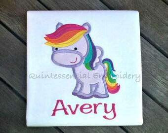 Pegasus-Unicorn-Pony-Horse-Personalized-Shirt-Boy-Girl-Baby-Infant-Applique-Embroidery-Animal-Kids-Birthday-Pretty-Rainbow-Custom-Bodysuit